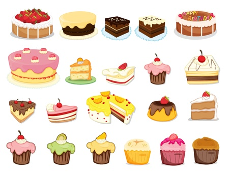 Illustration of cakes and desserts Stock Vector - 13190226