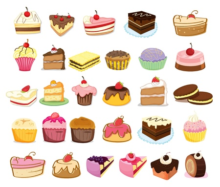 Illustration of collection of cakes Vector