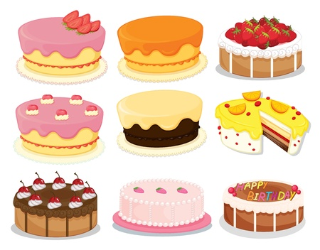 lots: Illustration of many cakes on white