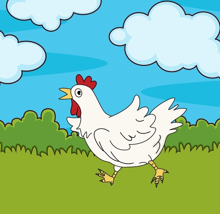 running: Illustration of chicken running in field Illustration