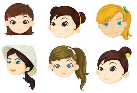 many people: Illustration of girls heads on white