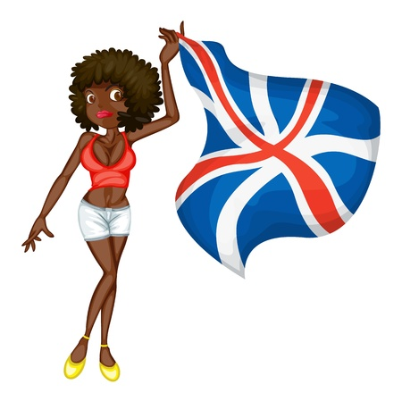 british girl: Illustration of a girl with a flag