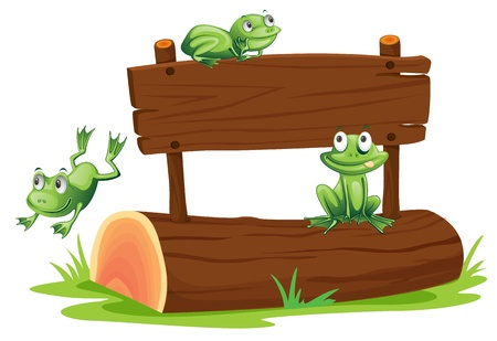 signage: Illustration of frogs with sign
