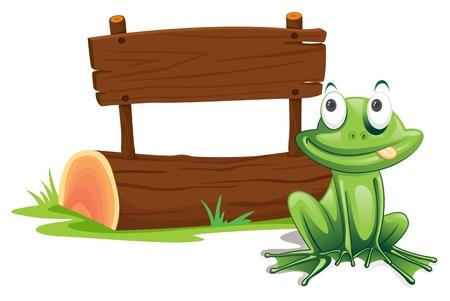 Illustratie van groene kikker met teken