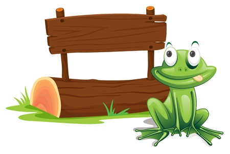 mischievous: Illustration of green frog with sign