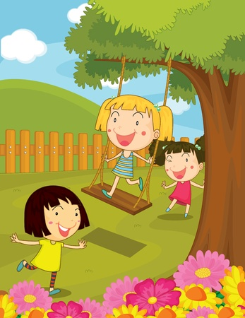 swinging: Illustration of kids playing in the park