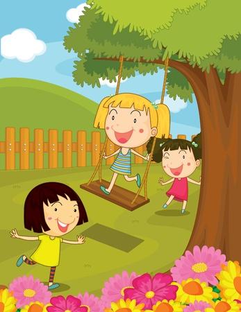 hanging woman: Illustrazione di bambini che giocano nel parco