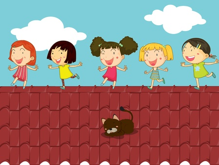 Illustration of kids on a rooftop Vector