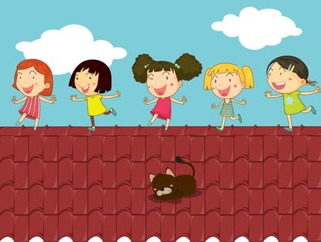 ni�os caminando: Ilustraci�n de los ni�os en una azotea