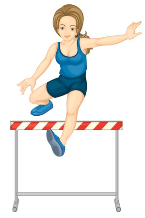 woman jump: Illustration of female hurdler on white