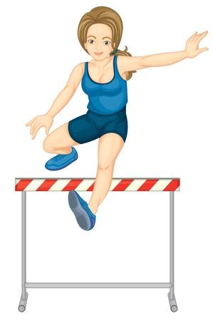 single track: Illustration of female hurdler on white