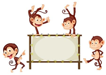 maliziosa: Illustrazione di scimmie e segno in bianco Vettoriali
