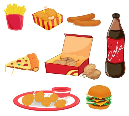 cartoon food: Illustration of junk food on white Illustration