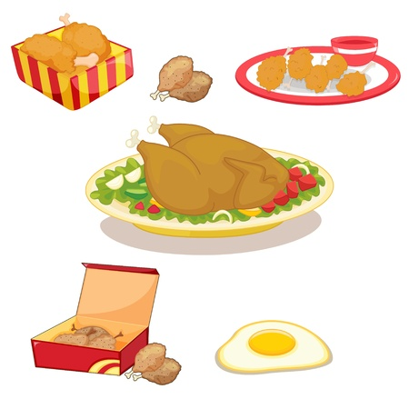 fried: Illustration of mized chicken clipart
