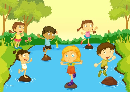 river rock: Illustration of children playing