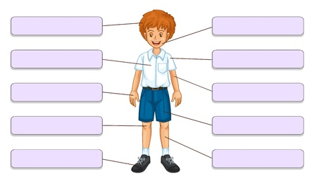 boy body: Illustration of body parts labels front Illustration