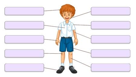 partes del cuerpo humano: Ilustración de las partes del cuerpo frente a las etiquetas