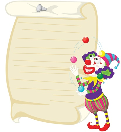 Illustration of a clown and paper Vector