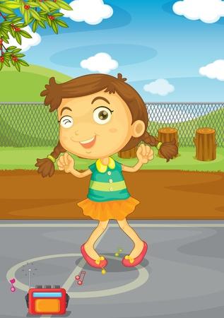 Illustration von einem Kind in einem Park
