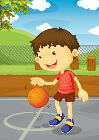center court: Illustration of a boy playing basketball
