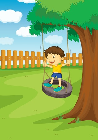 summer tire: Illustration of a boy on a swing Illustration