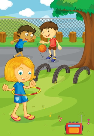 Illustration of friends in the school yard Stock Vector - 13190228