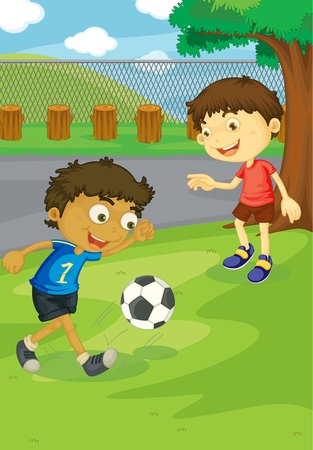 Kids playing soccer in the park Vector