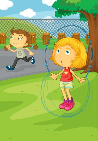 jump rope: Illustration of girls playing in the park Illustration