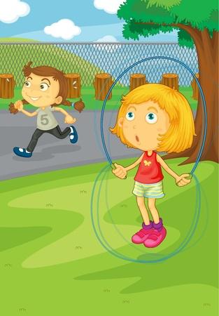 salto de valla: Ilustraci�n de las ni�as jugando en el parque