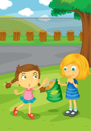 Illustration of kids sharing food Vector