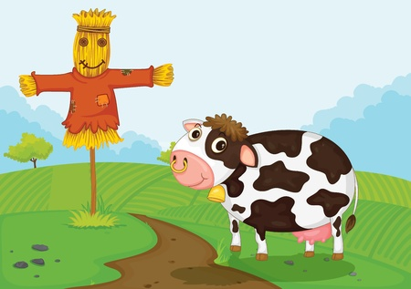 scare: Illustration of a cow and farm