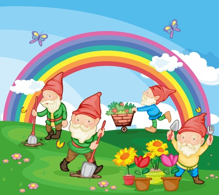 digging: Illustration of gardening gnomes