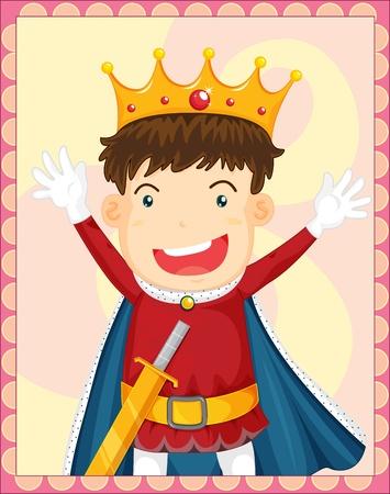 ni�os actuando: Ilustraci�n del joven rey en un marco de Vectores