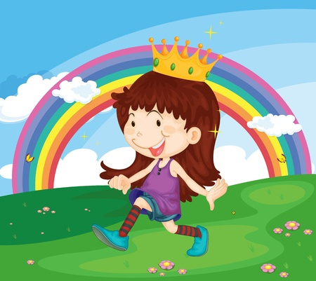 Illustration of princess in the park Vector