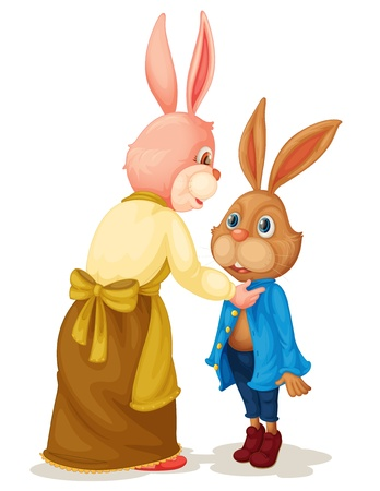 Illustration of Mother and son rabbit