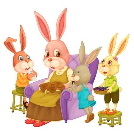 Ilustración de la familia de conejos Vectores