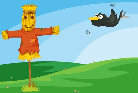 scare: Illustration of crow and scarecrow Illustration