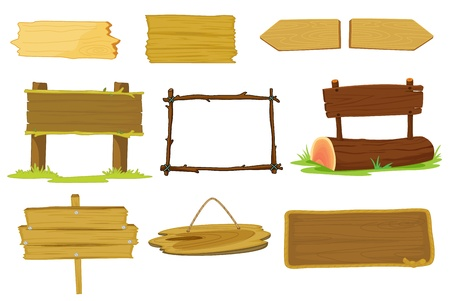 fence post: Illustration of signs and banners on white
