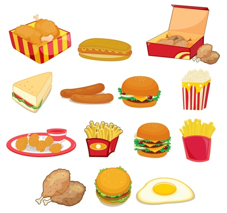 unhealthy food: Illustration of junk food on w