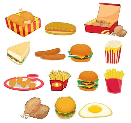 Ilustración de la comida chatarra en w