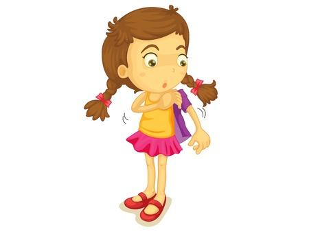 vistiendose: Ilustración de una niña de vestirse