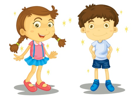 testvérek: Ragyogó tiszta fiú és lány Illusztráció