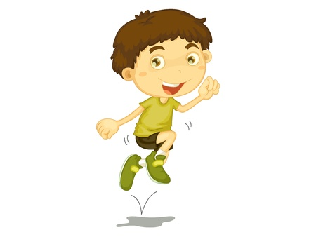 excitement: Boy jumping in the air Illustration