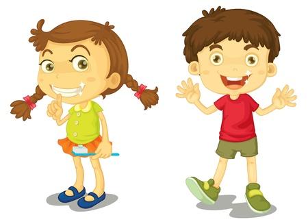 niño y niña: Niño y niña con los dientes limpios Vectores