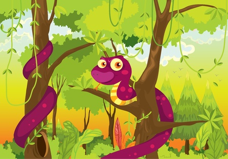scary forest: Illustration of snake in the jungle Illustration
