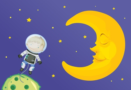 Illustration of astronaut and moon Stock Vector - 13189320
