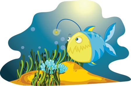 A  lone anglerfish amongst seaweed and bubbles Vector