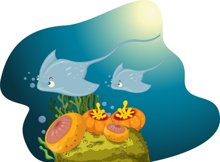 A stingray followed by its offspring swimming Stock Vector - 13190132