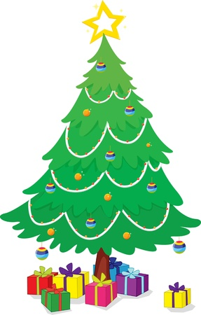 illustration of christmas tree and gifts Vector