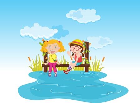 Two girls sitting on a pier near the water Çizim